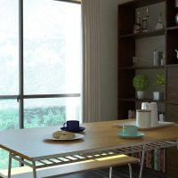 コントラストが美しい白×黒×ダークブラウンのリビングインテリア