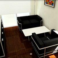 狭い6畳リビングを白黒モダンにコーディネート&レイアウト例
