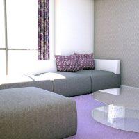 白と紫が織りなすモダンエレガントなリビング