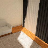 ワンルームのカーテンとラグのカラーパターン