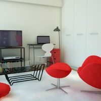 赤×白×黒 モダンスタイリッシュな一人暮らしのインテリア