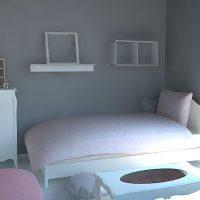 シックでかわいいグレーとピンクの部屋