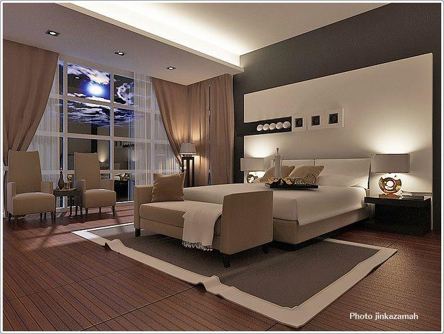壁に特徴あるモダンな寝室 - 寝室のインテリアコーディネート