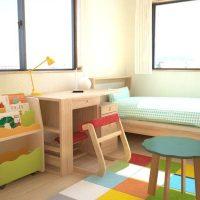 成長に合わせて調整できるナチュラルな子供部屋のコーディネート例