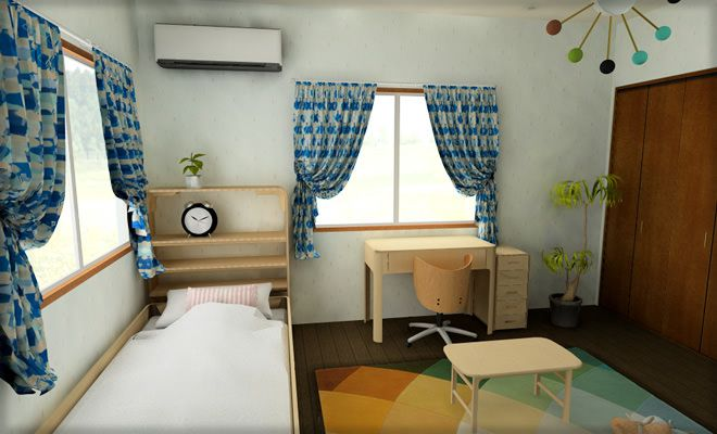 6畳子供部屋をファブリックでアレンジしやすい北欧風に インテリアハート