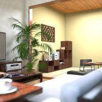 マンションのリビング+和室をモダンアジアンにコーディネート
