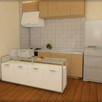 8畳横長リビングをキッチンカウンターで間仕切りする