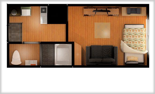 7畳1kのレイアウト例ソファとベッドレンガ壁紙で海外風なイメージ