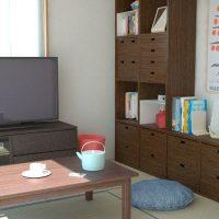 3畳寝室+4.5畳の和室2DKを一人暮らし用にベッドなどもレイアウトしたコーディネート事例