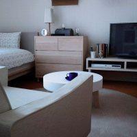 白×ベージュインテリアでカフェっぽくまとめた1K洋室